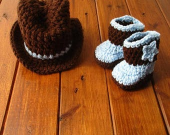 Newborn Cowboy Outfit Cowboy Hat and Boots Set Knit Cowboy Hat Crochet Cowboy Hat and Boots Baby Cowboy Outfit Photo Prop Cowboy Photo Prop