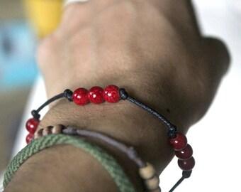 Cherry Bracelet - Brown bracelet & red beads (women, men, children)