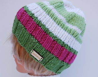 Hand knit hat, green striped hat, green and pink hat, striped beanie, striped green beanie, organic beanie, stash buster hat, natural fiber