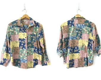 80s Floral Blouse Button Up Long Sleeve Top Preppy 1980s Casual Shirt BOHO Chic Collar Oxford Womens Large