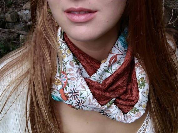 Fashionable woman Snood scarf tube multicolored flowers, orange rust brown mesh. Neck tube, Choker, infinity scarf, circular scarf
