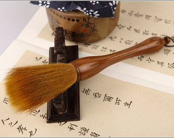 Free Shipping Chinese Calligraphy Material  2.3x7.9cm Weasel Horse Hair Mixed Grab Brush / JZDB - Cypress Wood Handle - 0042