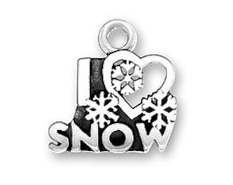 Sterling Silver I Heart Snow charm I Love Snow charm