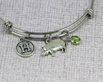Pig Birthstone bracelet, Pig Monogram Jewelry, initial bracelet, Pig Lover Gift, personalized Pig jewelry, Pig bangle, Pig charm bracelet