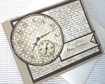 Happy retirement card steampunk banner blank stamped clocks gears handmade brown kraft stationery greeting home living