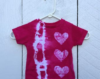 Toddler Tie Dye Shirt, Pink Toddler Shirt, Toddler Girls Shirt, Pink Tie Dye Shirt, Pink Girls Shirt, Pink Heart Shirt (18 months)