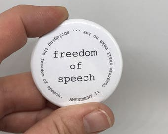 "freedom of speech 1.75"" button"