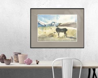 Caribou, originally painted watercolor