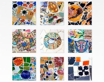 Gallery wall set, Barcelona, spanish tiles, Gaudi, Housewarming gift, Art print set, Park Guell photos