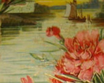 Vintage Embossed Floral/Sceainc Postcard # 2