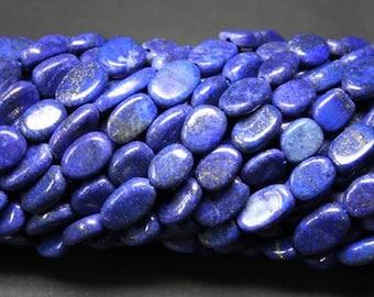 "13"" lapis 6x8 to 8x10mm oval gemstone beads"