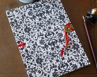 A5 notebook, hand bound, blank book, black and white, floral pattern, notebook, Chinese coin, monochrome, journal, bullet journal