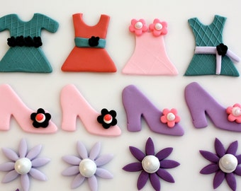 DRESS UP  -  Fondant Cupcake, and Cookie Toppers - 1 Dozen