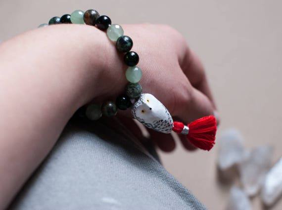 SALE Sacred Snowy Owl Mala Bracelet: Green Goldstone, Aventurine, & African Turquoise