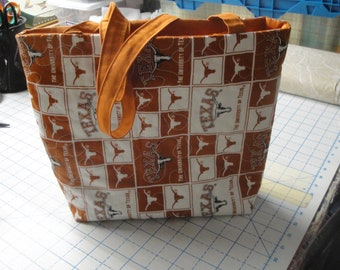 University of Texas Tote Bag-Machine Quilted-Orange & White w/Logo-Hand Made
