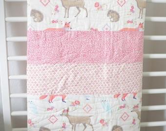 Baby Woodland Quilt, Baby Quilt, Deer Quilt, Fox Quilt, Crib Quilt, Woodland Nursery, Toddler Quilt, Woodland Bedding, Baby Bedding, Baby.