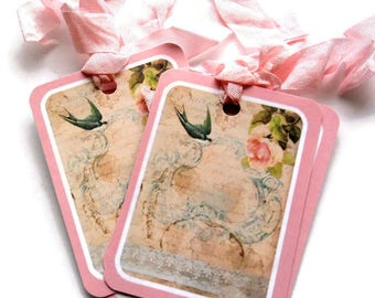 4 Victorian Floral Lace Gift Tags, Vintage Look Hang Tags, handmade merchandise tags, party favor tags, Takuniquedesigns