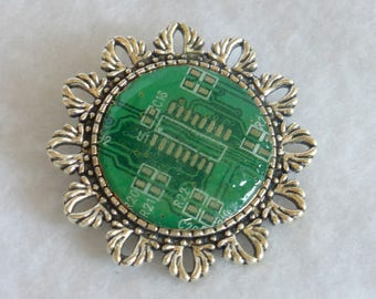 Steampunk Style Circuit Board Brooch  SP27