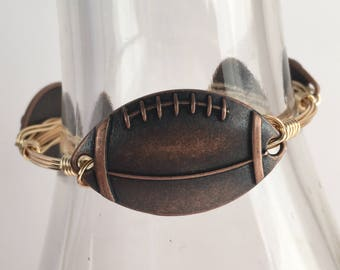 Football Wire Wrapped Bangle, Wire Wrap Bangle, Wire Bangle, Wire Wrapped Bracelet, Wire Wrap Bracelet, Football