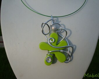 Gray Magic Pearl, silver, aluminum wire and lime green flower necklace