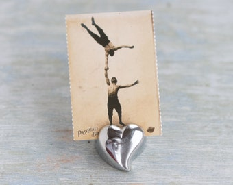 Small Heart Card Holder - Silver Toned Picture Holder
