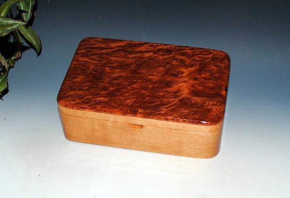 Wood Stash Box, Wood Jewelry Box - Redwood Burl on Cherry-Handmade Box, Wooden Jewelry Box, Wooden Box, Wood Box, Keepsake Box, Treasure Box