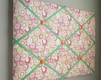 "16""x20"" Buttons Pink, Green, Orange, Peach Ribbon Memory Board, French Memo Board, Fabric Board, Ribbon Board, Bulletin Board, Pin Board"