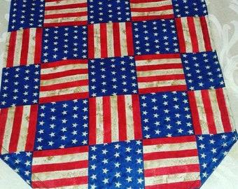 Patriotic, 4th of July Handmade Table Runner, 72x14, Reversible & Padded