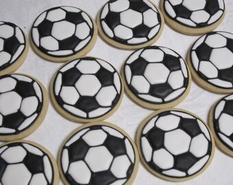 Soccer Ball Cookies - FIFA Sports Theme Decorated Sugar Cookie Party Favors, Birthday Party, Team Party, Custom Cookies
