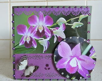 "Card any occasion entitled: ""White Butterfly on Orchid purple... """
