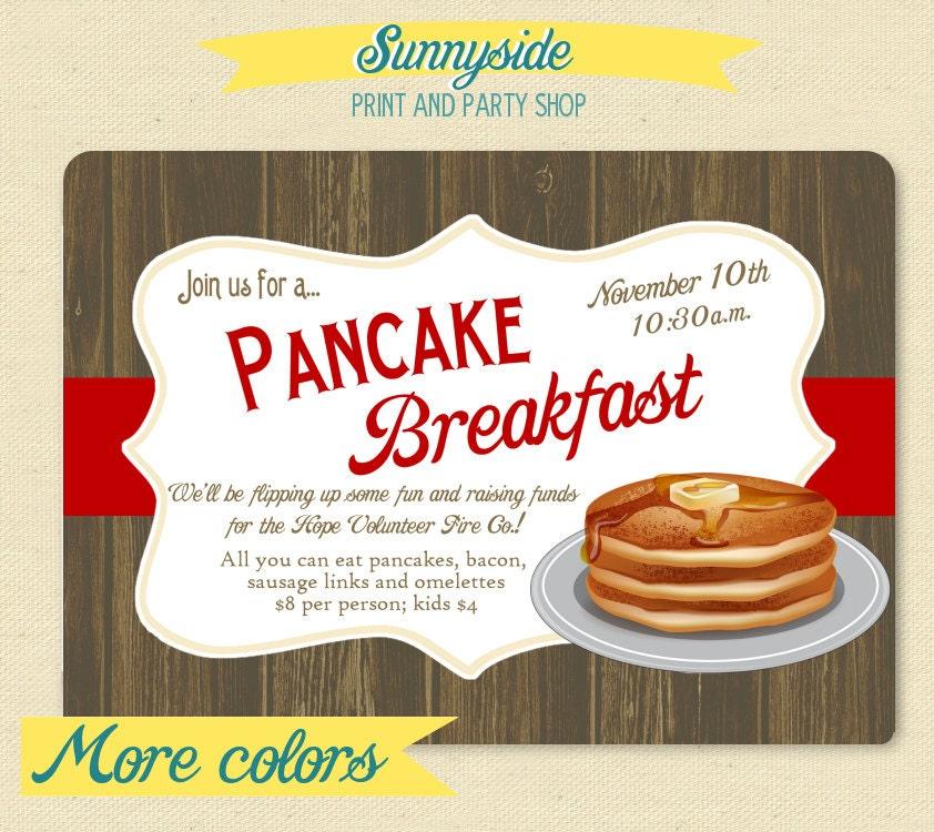 Pancake Breakfast Party Invite Rustic Printable Breakfast