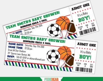 Sports Baby Shower Invitation - All Star Baby Shower Invitation - Baby Shower Invites - Baby Shower Invitations for boys (Instant Download)