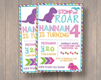 Girl Dinosaur Invitation, Girl Dinosaur Birthday Invitation, Girl Dinosaur Chalkboard Invitation, Dinosaur Invitation