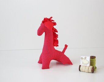 Red plush giraffe - Great handmade toy for kids - Red baby nursery decor - Red toy - Unique baby gift