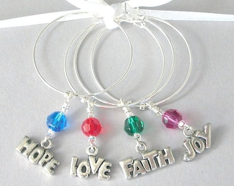 Inspiring wine glass charms, 4 inspirational wine glass charms, Hope, Love, Faith, Joy, silver dining barware, 12 step recovery, bridal gift