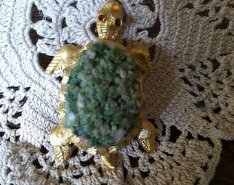 Vintage BSK Signed Turtle Brooch/Green Stones/Shell,Red Rhinestone,1970's Beauty