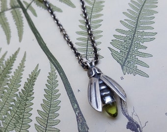 Peridot Firefly Pendant, Firefly Necklace, Silver Firefly with Peridot Gem, Insect Amulet, Lightening Bug Jewelry, Firefly Charm Necklace