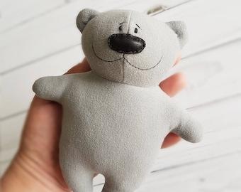 Grey soft toy bear, plush teddy bear, artist teddy bear, stuffed teddy bear, handmade bear, cute plush baby toy, stuffed animals