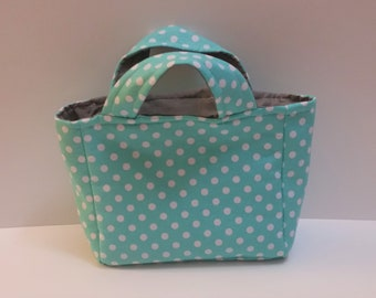 Aqua Polka Dot Toddler/Child's Service and Meeting Tote Bag with Gray Lining