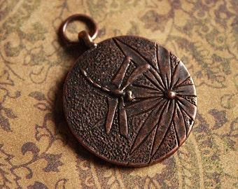 Antique Copper DRAGONFLY Pendant, Insect copper pendant, Summer Pendant, round copper pendant, nature pendant