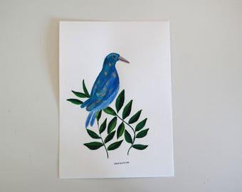 Blue bird - Original Watercolour