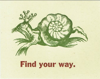Single Letterpress Postcard Find Your Way