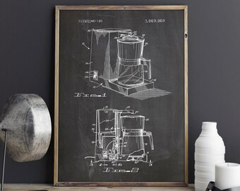 Coffeemaker Poster, Coffee Art Poster, Coffee Blueprint, Coffee Poster, Diner Printable,Coffee Lover Decor,Dinner Wall Art, INSTANT DOWNLOAD