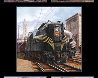 Vintage Trains Panel - All Aboard Collection by Elizabeth's Studio- 100% Cotton Fabric