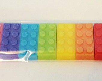 7 x Building Brick Soap Gift Set - Birthday Party Favours Rainbow