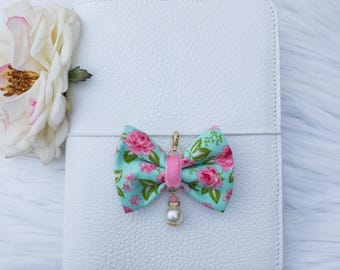 Dainty Bow in Teal and Rose