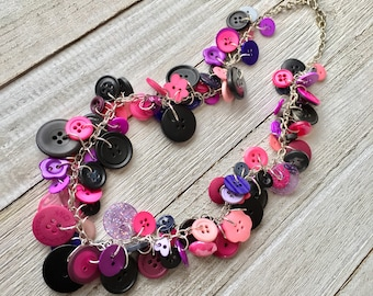 Pink & Purple Button Necklace, Upcycled Button Necklace, Button Charm Necklace, Repurposed Button Necklace, Funky Button Necklace