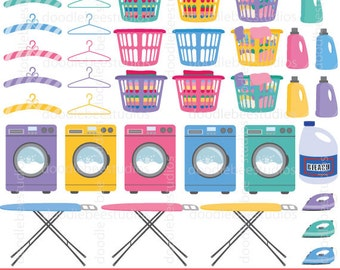 Laundry Day Clipart, Laundry Clip Art, Washing Machine Clipart, Iron Board Clipart, Hangers Clipart, Laundry Clipart, Chores Clipart