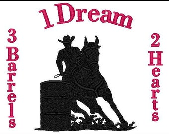 1 Dream 2 Hearts 3 Brrels embroidery design (5x7)