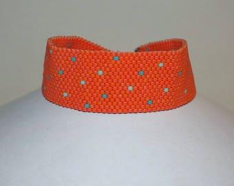 Orange woven Cuff Bracelet